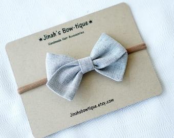 Grey Linen Hand Folded Bow Headband Nylon Skinny Headband
