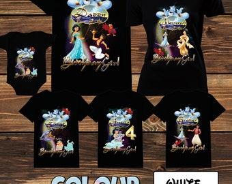 Aladdin Disney Family Shirt Princess Jasmine Disney Family Shirt  Princess Jasmines Brithday Family Shrirt Princess Jasmines and Aladdin