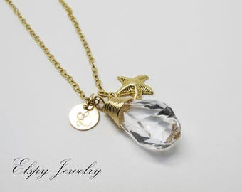 Crystal initial necklace | Starfish necklace | Gold filled necklace | Bridesmaid necklace | Bridal jewelry | Beach wedding necklace