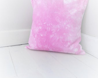 Hot pink tie dye cushion cover. Hand dyed pillow / cushion cover.