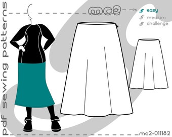 A-line Skirt Plus Size (sizes: uk 18-24/ usa 14-20) SLOPER/BLOCK Sewing Digital pdf Pattern for Women >mc2patterns< mc2-011182