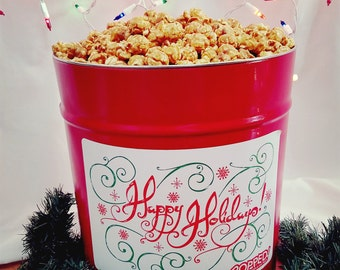 Huge Holiday Gourmet Popcorn Tin (3.5 Gal) | Ships FREE, Multi-flavor, Perfect Gift For Parents & Grandparents. Special Christmas Styles