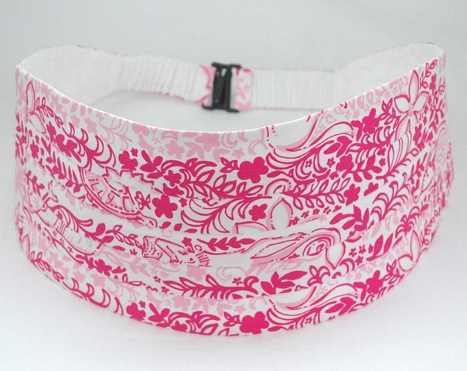 Cummerbund & Bow Tie, pinks/white Boardwalk Cafe Lilly print, groom/groomsmen cummerbund set, custom tuxedo accessory, prom cummerbund set