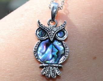 Abalone Paua shell Owl Pendent Necklace