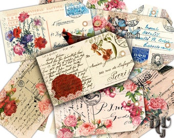 """Vintage paper gift tags """"OLD POST CARD"""" - Shabby Printable gift tags Instant Download printable vintage Hang Tags Digital Collage Sheet G007"""