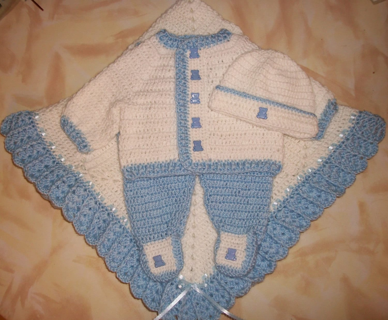 Crochet baby boy sweater set layette with leggings perfect zoom bankloansurffo Choice Image