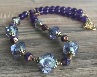 Purple handmade lampwork, Amethyst faceeted beads, Czech glass