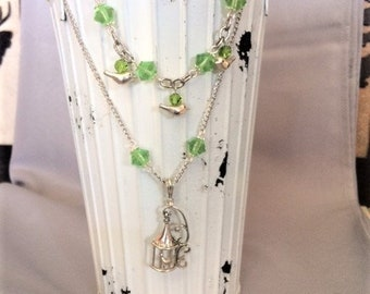 Green and Silver Double Strand Bird Necklace; Bird Necklace; Bird and Birdcage Necklace; 2 Strand Bird Necklace; Layered Necklace