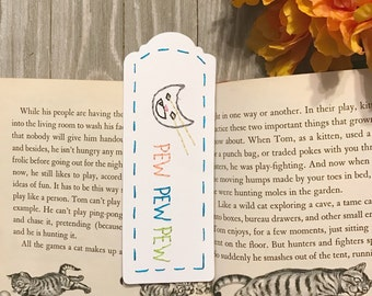Laser Cat Hand-Embroidered Bookmark - Cat Lover Gift - Funny Cat Art - Book Lover Gift
