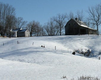 Winter Farm with  Red Barn,