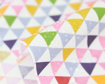 Laminated Waterproof Cotton Fabric - Geometric Triangles - Pink - By the Yard 70038