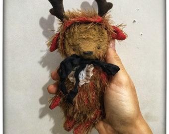 4,5 inch Artist Handmade Pocket Sized Miniature Mohair Deer Bear  by Sasha Pokrass