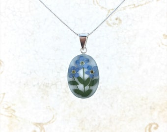 Forget me not Necklace, Miniature Real Forget me not Flower, Sterling Silver Forget me not Trio Pendant White Background