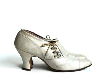 Reserved Listing for Ingrid  Antique Pale Grey Leather Corseted Victorian Shoes