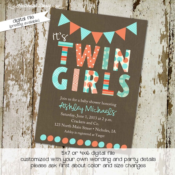 Twins baby shower invitation couples coed brunch diaper wipes gender neutral reveal sprinkle sip see rustic coral aqua | 1519 Katiedid Cards