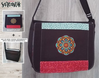 Mandala Bag flap for GIANT messenger bag, changeable flap collection**FLAP ONLY**