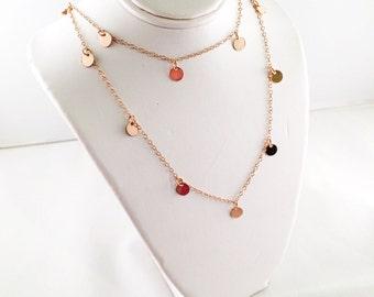 Nancy Botwin Unkraut Halskette / Cougar Town Halskette / Jules Cobb Halskette / Courtney Cox Halskette / Rose Gold gefüllt winzige Scheibe Halskette
