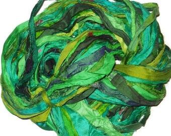 Huge Premium  Sari Silk Ribbon,  Green  Mix