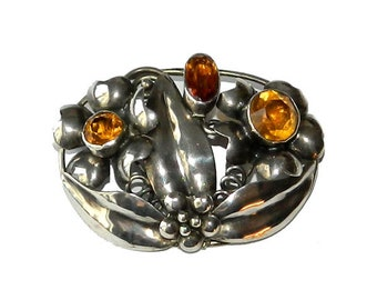 Vintage 1940's Sterling Silver Brooch with Amber Rhinestones