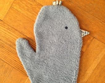 Blue chick washcloth