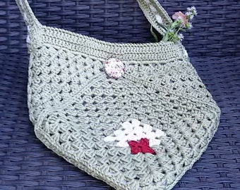 Crochet Bag, crossbody bag  in sage green, white and dark red cotton, with flowered lining