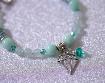 Natural gemstone beaded bracelet Charm bracelet Mint green bracelet Jade bracelet, semi precious stone bracelet, boho bracelet