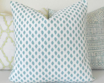 Both sides, aqua blue dots decorative pillow cover, mineral blue spots pillow