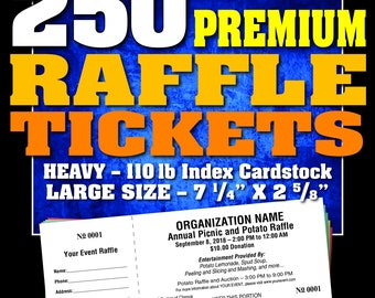 3000 premium raffle tickets customised perforated and