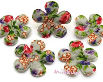 Set of 5 flowers patterned floral fabric flowers embellishment scrapbooking, card, 5 (ref.610) sewing pattern *.