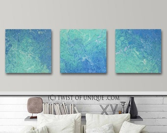 Seaglass painting/ Original/ watercolor abstract painting/ Oversized Painting / 3 painting set / 20 x 20 / White, blue, green, sealglass,