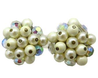 White Bead Earrings, Vintage Cluster Earrings, Signed Laguna Earrings, Faux Pearl & Rhinestone Clip on Earrings, Gift Idea