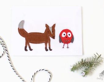 Hand sewn card fox and owl, woodland card, handmade card, hand stitched card, fox card, owl card, baby gift card, handmade card blank