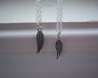 Angel Wing Necklaces -Wing Necklace- Sterling Silver Angel Wing Necklaces -Two Best Freinds Necklaces - Bridesmaids Gifts-With Free Gift
