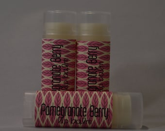 Pomegranate Berry -  Sweetened Lip Balm - Flavored Lip Balm- Natural Lip Butter - Handmade