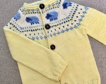 Pattern  yellow sheep cardigan knitting pattern 6-12 months, 1 to 2 years, 2 to 4 years  dk