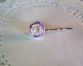 Jeweled Hair Pin (211) - Flower Hair Pin - Purple Hair Pin - Purple Flower Hair Pin - Repurposed Hair Pin - Jewelry Hair PIn