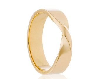 Mens Wedding Band, 14K Gold Mobius Ring, Twisted Wedding Ring, 18K Gold Band