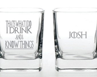 Deep Engraved Dishwasher Safe Game of Thrones, I Drink and I Know Things Personalized Custom Engraved Whiskey Rocks Glass or Choice of Glass