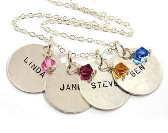 Personalized Necklace 4 Names with Birthstoness - Sterling Silver - Free Shipping