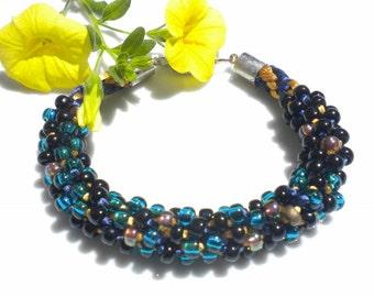 Kumihimo Beaded Bracelet Braided Bracelet Green Onyx Gold Myuki Glass Beads