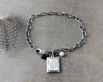 Silver Book Locket, Gemstone Locket Bracelet, Gemstone Bracelet, Vintage Locket, Sterling Silver Locket, Sentimental Jewelry, 4 Photo Locket