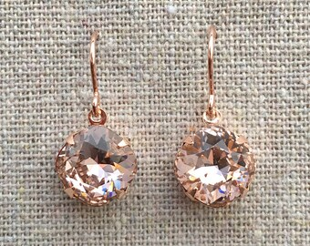 Swarovski Crystal Blush Pink Cushion Cut Rose Gold Dangling Bridal Earrings Bridesmaids Gifts Wedding Jewelry Brides Faux Morganite Earrings