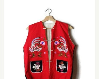 ON SALE Vintage Vivid Red x  Colorful Floral/Birds embroideries Cotton Vest from 1980's*