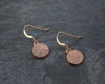 Best Selling • Pave Rose Gold Earrings • Sparkly Rose Gold Earrings • Rose Gold Drop Earrings • Trendy • Mothers Day Gift •  Sister Earrings
