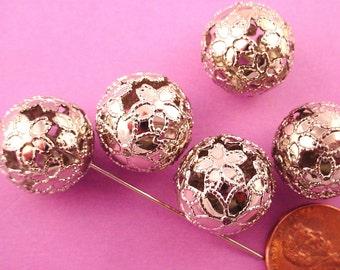 8 silver tone open cut filigree ball beads 16mm