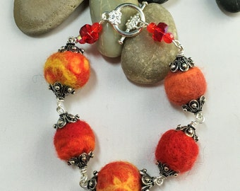 Red Orange and Yellow Sunset Bracelet