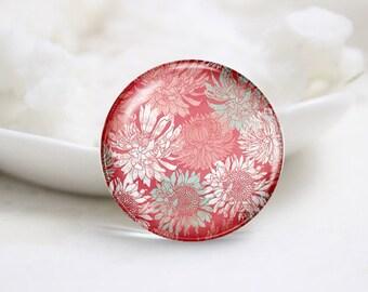 Handmade Round Flower Photo Glass Cabochons (P3472)