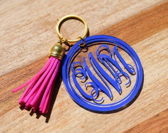 Monogram Keychain with Tassel, Personalized Key Chain, Initial Keychain, Zipper Pull, Key Fob, Bachelorette Gifts, Bridesmaid Gift