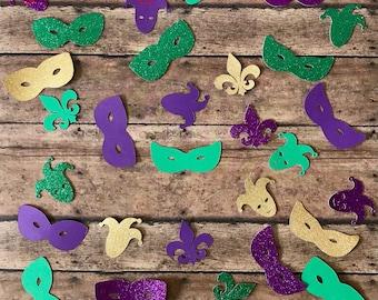Mardi Gras/Masquerade Confetti; Masks, Jester, Fleur De Lis