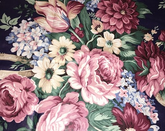 Waverly Blue pink ribbons roses cotton Summertime my favorite things sewing Fabric bthy half yard